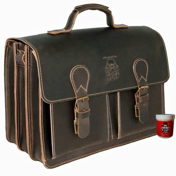 Aktentasche da Vinci 1 aus braunem Bio Leder Pflege 51