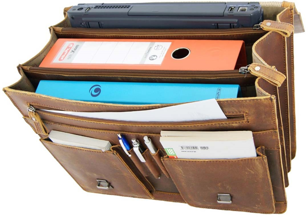 Herren Aktentasche 3-Faecher Ordner Laptop 630